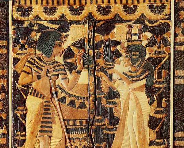 Top panel from a coffer, from the Tomb of Tutankhamun, New Kingdom (wood, bronze, ivory & coloured glaze)
