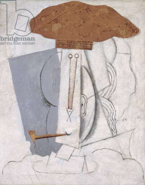 Student with Pipe, 1913-14 (oil, charcoal, pasted paper & sand on canvas)