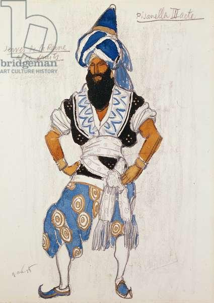 Queen's servant costume design for 'Pisanella', 1913 (watercolour on board)