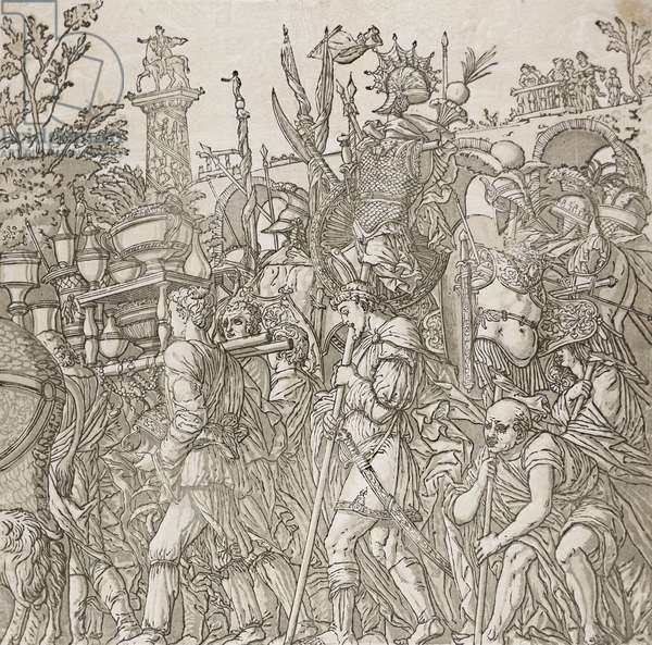 Triumph of Caesar, 1599 (chiaroscuro woodcut from four blocks in black and light, medium and dark greenish gray on off-white laid paper)