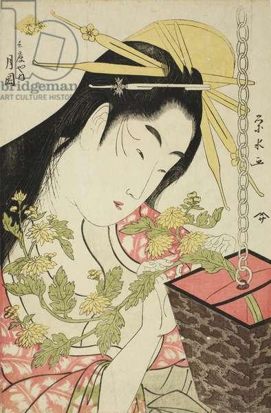 The Courtesan Tsukioka of the Hyogoya, c.1797 (colour woodblock print; oban)
