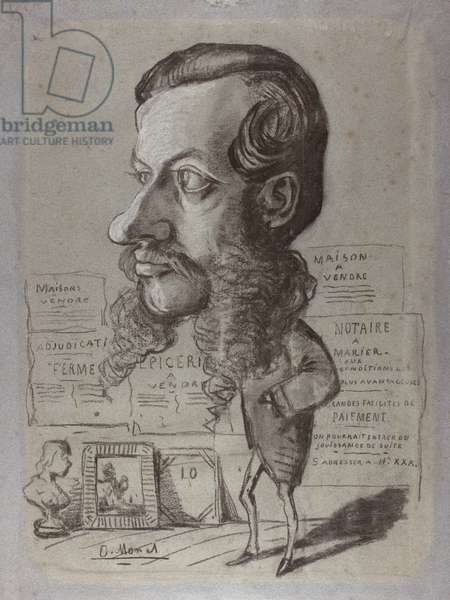 Caricature of Léon Manchon, c.1858 (charcoal with stumping & white heightening on blue paper)
