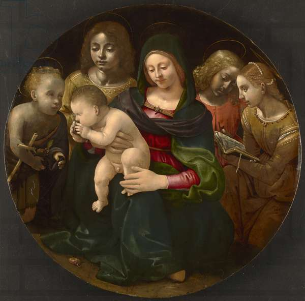 Virgin and Child with the Young Saint John the Baptist, Saint Cecilia, and Angels, c.1505 (oil on poplar panel)