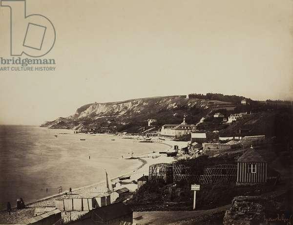 The Beach at Sainte-Adresse, with the Dumont Baths, 1856-57 (albumen print)