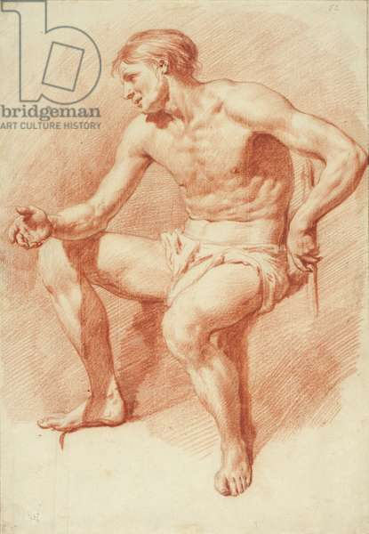 Study of a Male Nude (red chalk over black chalk on cream laid paper)