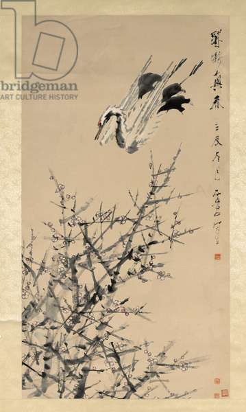 Plum Blossoms, Crane, and Spring, Qing dynasty (1644-–1912), 1824-96, c.1892 (hanging scroll; ink and colors on paper)
