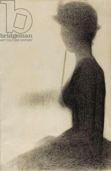 Seated Woman with a Parasol (study for La Grande Jatte), 1884-85 (black conté crayon on ivory laid paper)