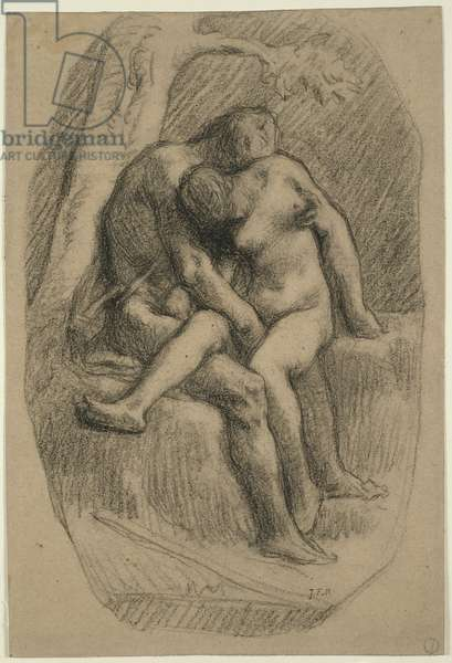The Lovers, 1846-50 (black crayon, on buff wove paper with blue fibres)