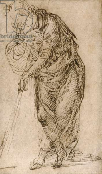 Standing Figure Leaning on a Staff, c.1510 (pen & brown ink on tan laid paper, edge-mounted to cream wove paper; framing lines in pen and brown ink on all four sides)