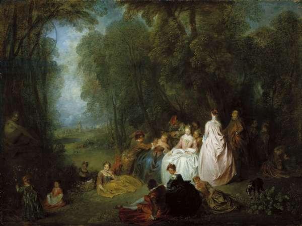 Fête champêtre (Pastoral Gathering), 1718-21 (oil on panel)
