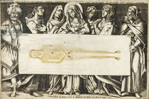 The Holy Shroud of Besançon, 1634 (engraving in black and yellowish brown, with hand additions in red gouache on cream, silk satin weave, folded)