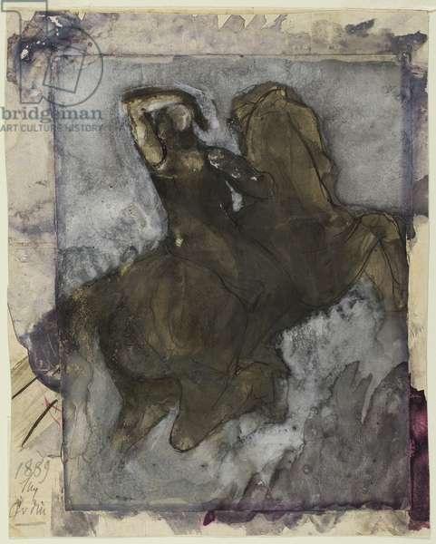 Horseman, 1889 (gouache & ink over graphite on paper)
