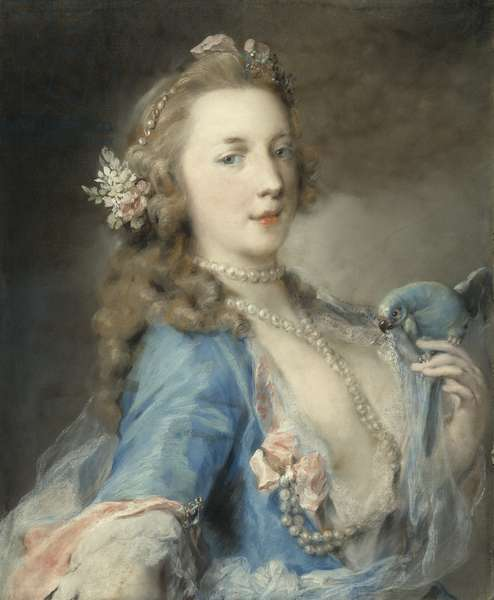 A young lady with a parrot, c.1730 (pastel on paper)