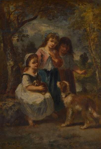 Three Little Girls, c.1870 (oil on panel)