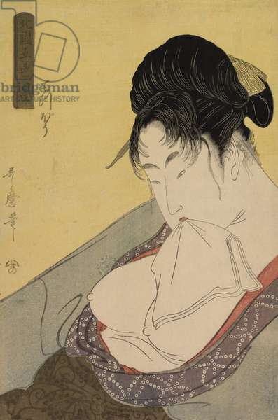 A Low Class Prostitute (Gun teppo), from the series 'Five Shades of Ink in the Northern Quarter' (Hokkoku goshiki-zumi), c.1794-95 (colour woodblock print)