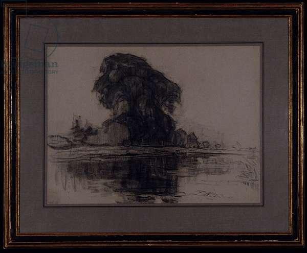 Landzicht Farm: Compositional Study, c.1905 (charcoal on blue-gray paper)