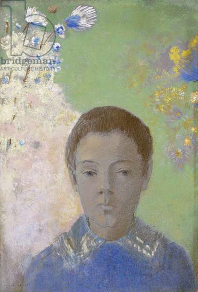 Portrait of Ari Redon, c.1898 (pastel on pale blue wove paper faded to grey)
