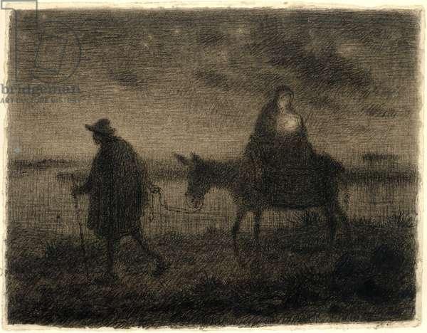 The Flight Into Egypt, c.1864 (conté crayon, pen & black ink, pastel and wash on paper)