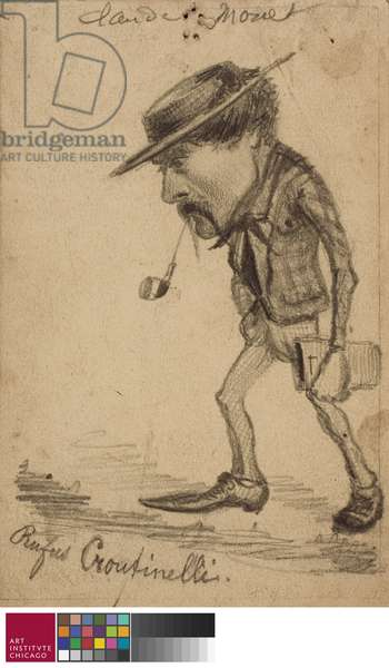 "Caricature of Henri Cassinelli (""Rufus Croutinelli""), c. 1858 (pencil on card)"