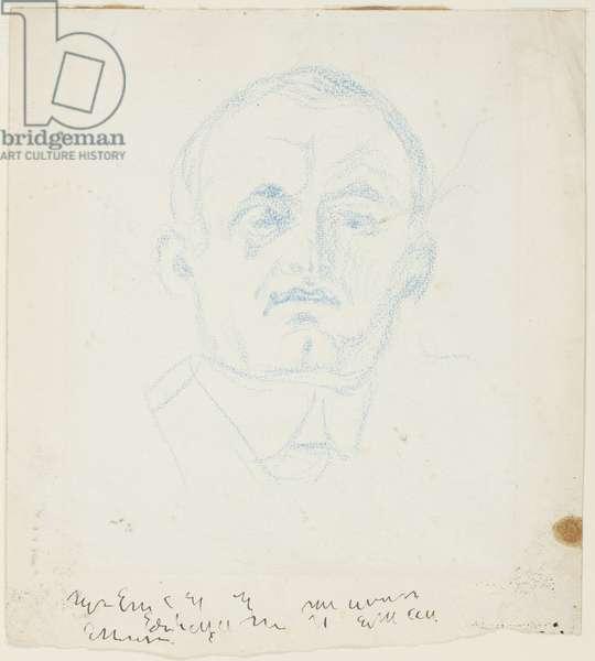 Self portrait (blue crayon on paper)