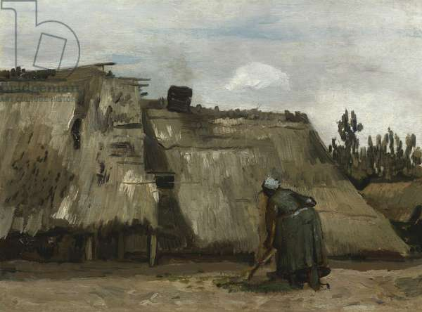 A Peasant Woman Digging in Front of Her Cottage, c.1885 (oil on canvas)