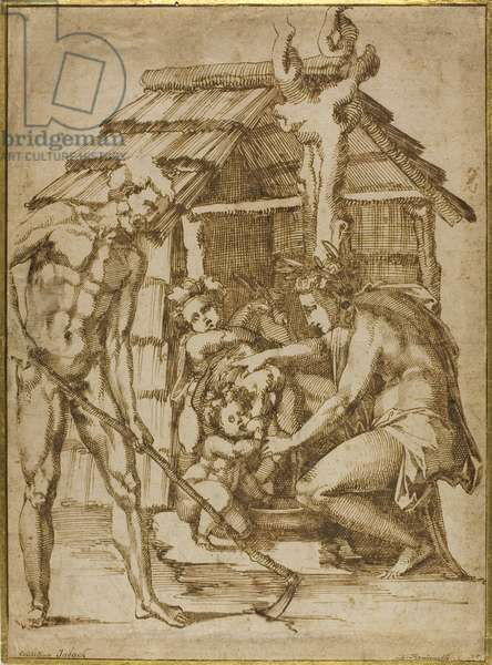 First Family Before a Shelter, 1547-48 (pen & brown ink on buff laid paper, laid down on cream wove card)