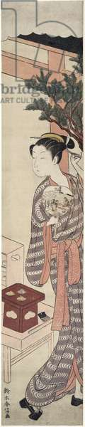 The Tea Stall - Kagiya Osen, c.1769 (colour woodblock print)