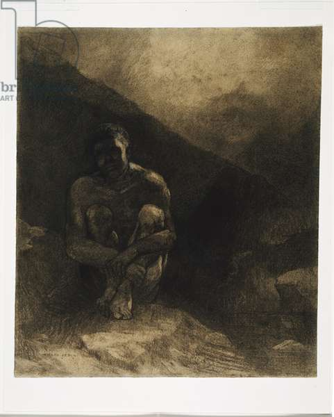 Primitive Man, 1872 (charcoal, black chalk, stumping, wiping & erasing, with white & ochre gouache on paper)