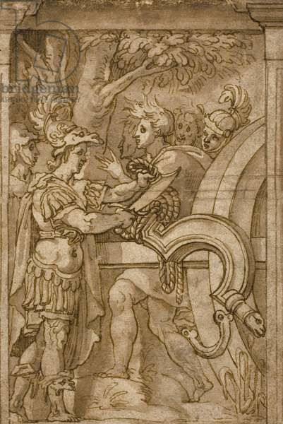 Alexander Cutting the Gordian Knot (pen & brown ink with brush & brown wash, on cream laid paper, laid down on ivory laid paper)