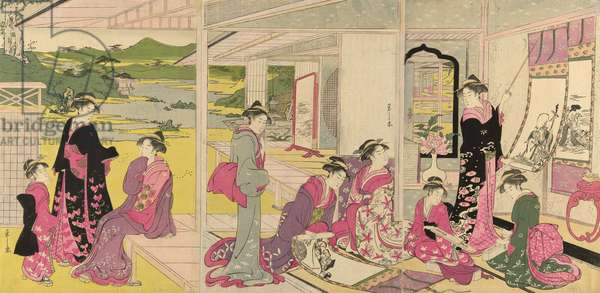 Women Viewing Scroll Paintings of the Gods of Good Fortune (colour woodblock print)