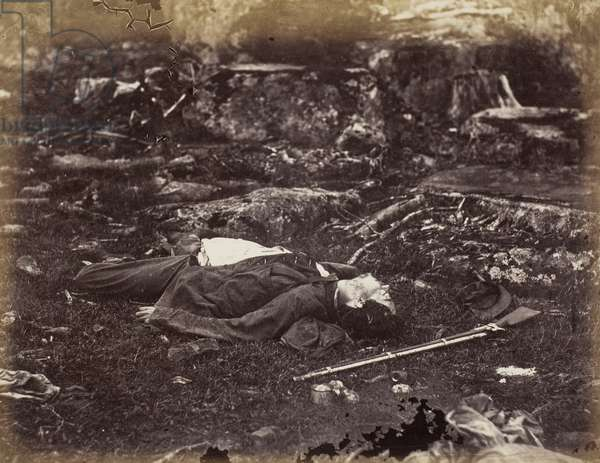 A Sharpshooter's Last Sleep, Gettysburg, Pennsylvania, July 1863 (albumen print, pl. 40 from the album gardner's photographic sketch book of the war, volume i (1866))