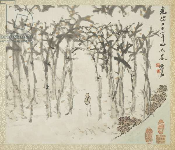 Landscape with figure, from an album of landscapes and calligraphy for Liu Songfu, 1895-96 (ink & colour on paper)