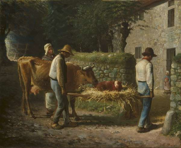 Peasants Bringing Home a Calf Born in the Fields, 1864 (oil on canvas)
