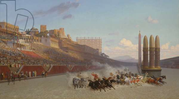 Chariot Race, 1876 (oil on cradled panel)