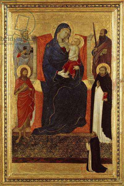 Virgin and Child enthroned with Saints Peter, Paul, John the Baptist, Dominic and a donor, 1325-35 (tempera on panel)