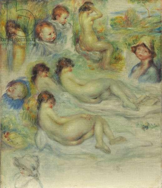 Studies of Pierre Renoir, his Mother, Aline Charigot, nudes, and landscape, 1885-86 (oil on canvas)