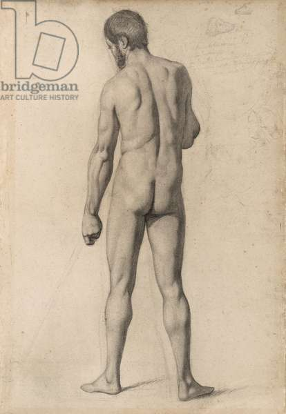 Academic nude, seen from the back, 1862 (charcoal and black chalk, with stumping and erasing, and graphite sketches and notations, on tan laid paper, laid down on heavy tan wove paper)