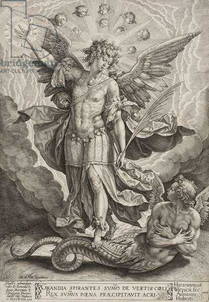 St Michael Triumphing Over the Dragon, 1584 (engraving in black on ivory laid paper)