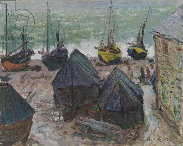 Boats on the Beach at Étretat, 1885 (oil on canvas)