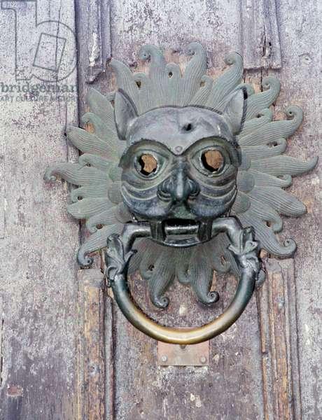 Durham Cathedral Sanctuary Knocker, copy of 12th century bronze original (photo)
