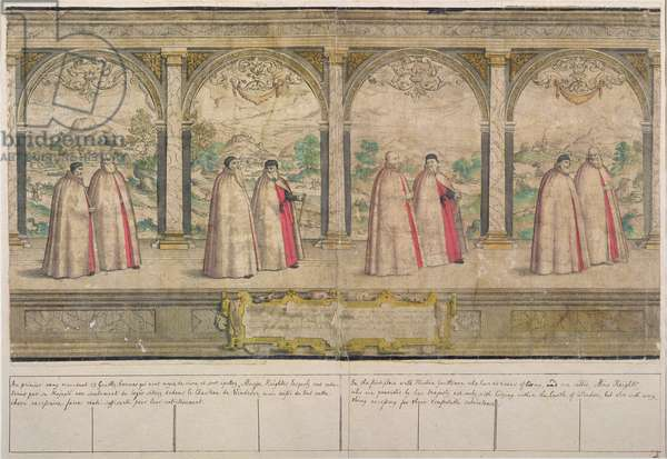 Imaginary Composite Procession of the Order of the Garter at Windsor, engraved by Marcus Gheeraerts the Elder (1521-86) 1576 (coloured etching)