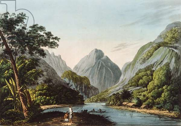 A View in Oheitepha Bay on the Island of Otaheite, from 'Captain Cook's Last Voyage', 1809 (coloured engraving)