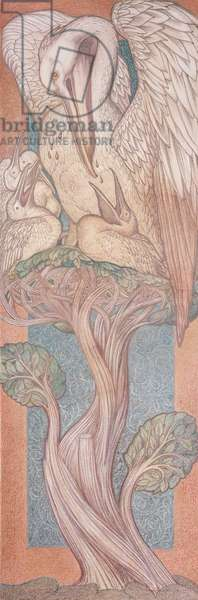 The Pelican, cartoon for stained glass for the William Morris Company, 1880 (coloured chalk on paper)