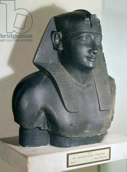 Fragment of an Egyptian style statue of Ptolemy I, 305-283 BC (basalt)