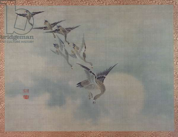 Flying Ducks, 1851 (watercolour on silk)