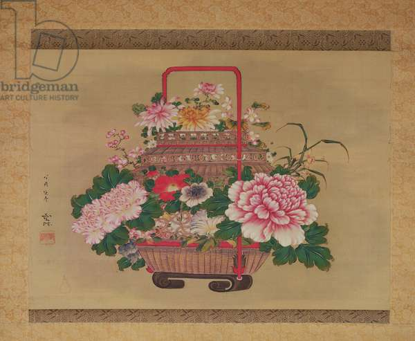 Basket of flowers, 1837 (ink and colours on silk)