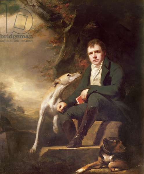 Portrait of Sir Walter Scott and his dogs (oil on canvas)