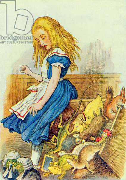 Alice Upsets the Jury-Box, illustration from 'Alice in Wonderland' by Lewis Carroll (1832-9) (colour litho)