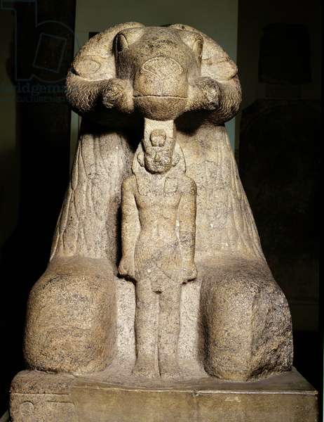 Statue of Amun in the form of a ram  protecting King Taharqa, 690-664 BC (granite)
