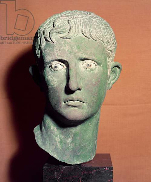 Head from a full length statue of the Emperor Augustus (63 BC-AD 14) found near a temple of Victory at Meroe in the Sudan, c.30-25 BC (bronze)